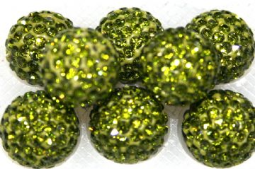 12mm Olive Green 130 Stone  Pave Crystal Beads - Half Drilled  PCBHD12-130-019